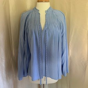 Ann Taylor Blue and White Striped Blouse-Worn Once